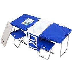 Giantex Multi Function Rolling Cooler Picnic Camping Outdoor w/Table & 2 Chairs Blue