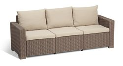Keter California 3-Seater Seating Patio Sofa with Cushions in a Resin Plastic Wicker Pattern, Ca ...