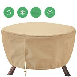 Extra Heavy Duty Patio Fire Pit Cover Round 44-Inch Diameter/Outdoor Furniture Covers Waterproof