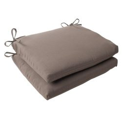 Pillow Perfect Indoor/Outdoor Forsyth Squared Seat Cushion, Taupe, Set of 2