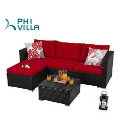 PHI VILLA 3-Piece Patio Furniture Set Rattan Sectional Sofa Wicker Furniture (Red)