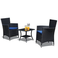 PATIOROMA 3 Piece Patio Conversation Set – All Weather Black Bistro Set with Glass Top Tab ...