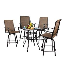 Long World 5 pcs Outdoor Garden Bar Set Textilene Height Bistro Sets, Conversation Set 4 Brown S ...