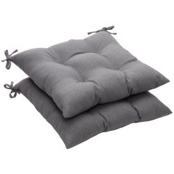 Pillow Perfect Indoor/Outdoor Gray Textured Solid Tufted Seat Cushion, 2-Pack