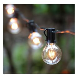 100FT Outdoor Patio String Lights with 100 Clear Globe G40 Bulbs, UL Certified for Indoor/Outdoo ...
