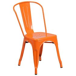 Flash Furniture Orange Metal Indoor-Outdoor Stackable Chair