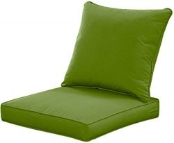 Qilloway Outdoor/Indoor Deep Seat Cushions for Patio Furniture, Lawn Chair Cushion 24 x 24 inch  ...
