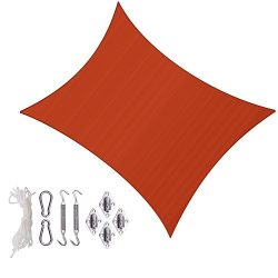 Sunlax 13′ x 20′ Terra Color Rectangle UV Block Sun Shade Sail Canopy with Stainless ...