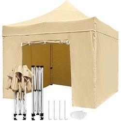 TopCamp 10 x 10 ft Pop up Canopy Tent with Wall, Heavy Duty Outdoor Commercial Waterproof Tents  ...