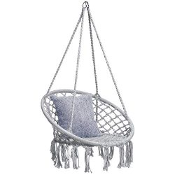 Best Choice Products Indoor/Outdoor Handmade Hanging Cotton Macramé Rope Hammock Lounge Swing Ch ...