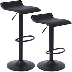 SUPERJARE Adjustable Bar Stools, Swivel Barstool Chairs for Bar, Shop, Kitchen, Set of 2, Black
