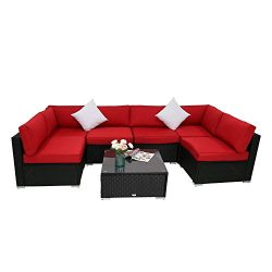 Peachtree Press Inc 7 PCs Outdoor Patio PE Rattan Wicker Sofa Sectional Furniture Set With Red C ...