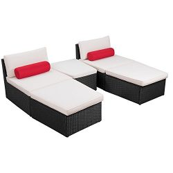 Flamaker 5 Pieces Patio Furniture Set Modern Outdoor Furniture Sets Cushioned PE Wicker Chaise l ...