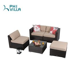PHI VILLA 5-Piece Patio Furniture Set Rattan Sectional Sofa with Seat Cushions, Beige