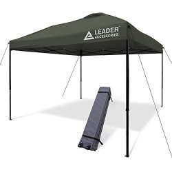Leader Accessories 10×10 Straight Wall Pop Up Instant Canopy Dark Grey One Wheeled Carry Ba ...