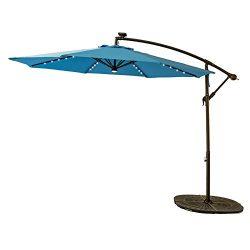 FLAME&SHADE 10 Feet Offset Outdoor Cantilever Umbrella, LED Solar Light Hanging Patio Umbrel ...
