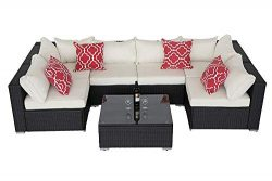 Do4U 7pcs Outdoor Patio Garden Rattan Wicker Sofa Set Sectional Furniture Set (Expresso-4555)