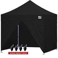 Eurmax 10 X 10 Commercial Instant Gazebo Ez Pop up Canopy with 4 Removable Sidewalls and Carry Bag