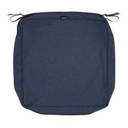 Classic Accessories Montlake Patio Seat Cushion Slip Cover, Heather Indigo, 25x25x5