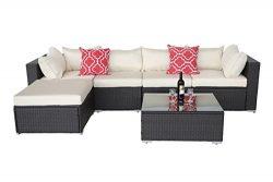 Do4U Patio Sofa 6-Piece Set Outdoor Furniture Sectional All-Weather Wicker Rattan Sofa Beige Sea ...