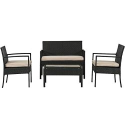 PayLessHere Outdoor Wicker Patio Furniture Set 4 PC PE Rattan Chairs With Cushions Outdoor Garde ...