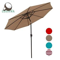 COBANA Patio Umbrella Outdoor Aluminum Table Umbrella of 9-Feet with 8 Ribs and Push Button Tilt ...