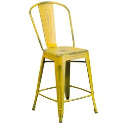 "Flash Furniture 24"" High Distressed Yellow Metal Indoor-Outdoor Counter Height Stool with Back"