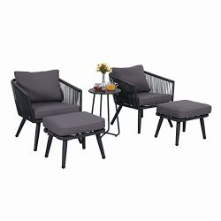 PHI VILLA 5-Piece Conversation Set Patio Furniture Set – PE Rattan and Steel, Grey