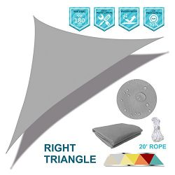 Coarbor Waterproof UV Block 16'x16'x23′ Right Triangle Light Grey Sun Shade Sa ...