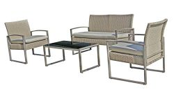 StellaHome Outdoor Chairs Patio Furniture Set Clearance Balcony Garden Wicker Small Cheap 4Piece ...