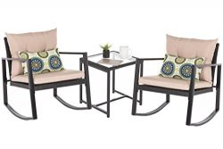 OAKVILLE FURNITURE 61503 Patio 3-Piece Rattan Rocking Bistro Set, Outdoor Furniture Sets with Ru ...