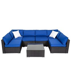 Peach Tree 7 PCs Garden Furniture PE Rattan Wicker Sofa Sectional Furniture Cushioned Deck Couch ...