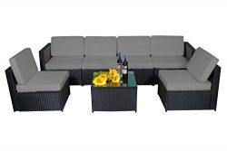 MCombo 7PC Outdoor Rattan Wicker Sofa Couch Patio Furniture Chair Garden Sectional Set With Cush ...