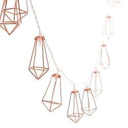 Ling's moment 10Ft Rose Gold Wall Decor Metal Geometric 20 LED Bedroom Fairy Lights Batter ...