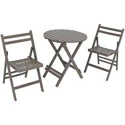Sunnydaze 3-Piece Bistro Set, Folding Outdoor Wood Patio Furniture, Gray