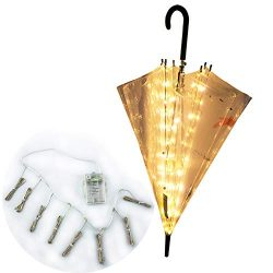 Areskey Patio Umbrella String Lights,8-Ribs 104 LED,Warm White Starry Lights for Bistro Pergola, ...