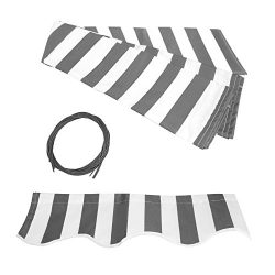 ALEKO FAB12X10GREYWHT Retractable Awning Fabric Replacement 12 x 10 Feet Gray and White Striped
