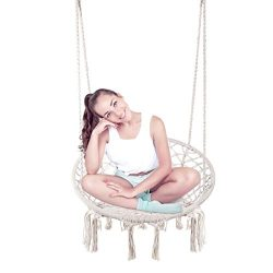 Techcell Hammock Chair Macrame Swing,Cotton Hanging Macrame Hammock Swing Chair Ideal for Indoor ...