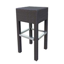 "Abba Patio Outdoor Wicker Barstool Patio Furniture Bar Stool, 14.2""L x 14.2""W x 30.3 ..."