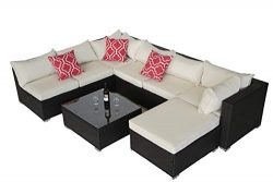 Do4U Patio Sofa 8-Piece Set Outdoor Furniture Sectional All-Weather Wicker Rattan Sofa Beige Sea ...