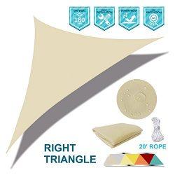 Coarbor Waterproof UV Block 17'x17'x24′ Right Triangle Beige Sun Shade Sail Ca ...
