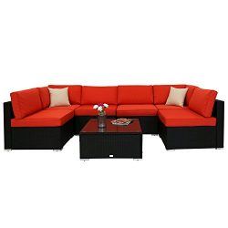 Peach Tree Outdoor Furniture Sectional Wicker Sofa Set 7 PCs Patio Resin Rattan Clearance, All-W ...