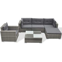Festnight 6 PCS Outdoor Conversation Sofa Set Rattan Patio Sectional Sofa Furniture Set Cushions ...