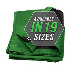 Tarp Cover 10X12 Green/Black 2-Pack Heavy Duty Thick Material, Waterproof, Great for Tarpaulin C ...