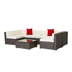 Welpatio 7-Piece PE Rattan Wicker Patio Sectional Conversation Set with Cushions & Pillows & ...