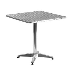 "Flash Furniture 27.5"" Square Aluminum Indoor-Outdoor Table with Base"