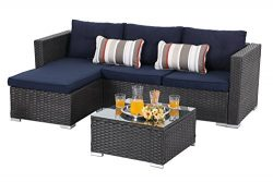 PHI VILLA 3 Piece New Outdoor Furniture Sectional Sofa Patio Set with Upgrade Rattan Wicker, Blue