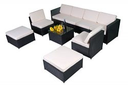 MCombo 9PC Outdoor Rattan Wicker Sofa Couch Patio Furniture Chair Garden Sectional Set With Wate ...