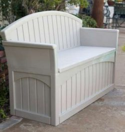 Premium Furniture Outdoor Storage Bench, Patio – 50 Gal, Resin, Light Taupe