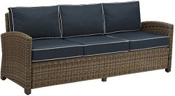 Crosley Furniture Bradenton Outdoor Wicker Patio Sofa with Cushions – Navy